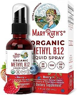(Extra Strength-60 Day) Organic Vitamin B12 (Methyl) Liquid Sublingual Spray by MaryRuth Energy Boost - Sugar Free - Non-G...