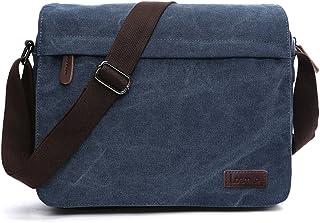 LOSMILE Herren Umhängetaschen, Leinwand Schultertaschen, 13.3 Laptoptasche,Schulranzen, für Schule und Arbeits,für Männer und Frauen. L-Blau