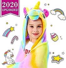 CozyBomB Rainbow Unicorn Gifts for Girls - Wearable Fleece Soft Throw Blanket for Kids Girl - Cute Hooded Plush Bathrobe Cozy Wrap with Hood Sleep Age 3 4 5 6 Year Old Christmas (Rainbow)