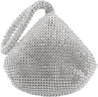 wocharm Women Evening Envelope Handbag Party Bridal Clutch Purse Shoulder Cross Body Bag Rhinestones Wrist Bag