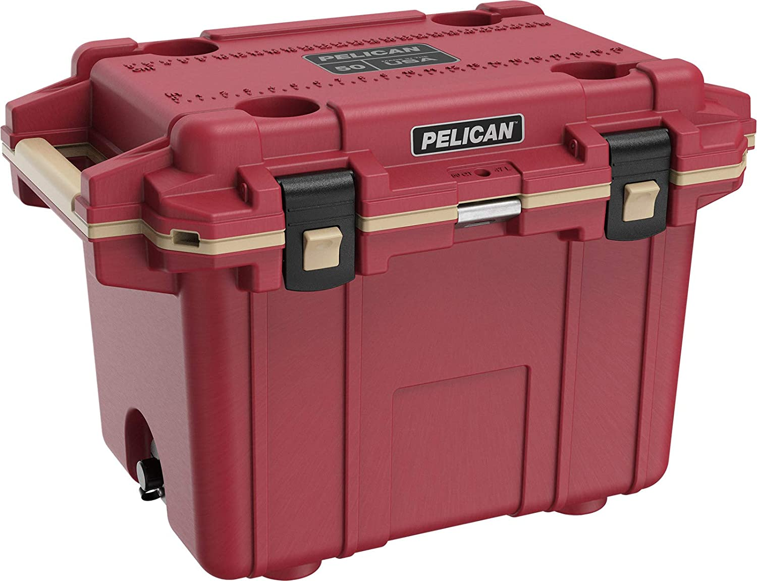 Pelican Elite 50 Quart Cooler (Canyon Red Coyote)