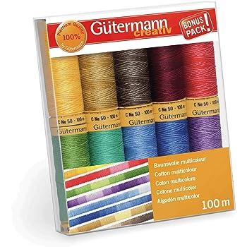 Gutermann 731149-1 - Juego de hilos (algodón natural, 100 m x 10 carretes, multicolor), multicolor: Amazon.es: Hogar