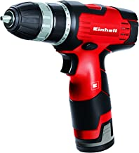 Einhell TH-CD 12 Li - Taladro sin cable, 1 velocidad, batería de 1.3 Ah, 24 Nm, portabrocas 10 mm, 12 V, color negro y rojo