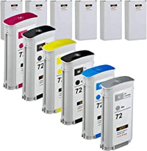 Best LKB 6PK Compatible HP72 Ink Cartridge Replacement with 130ML Use with designjet T1100 T1200 T1100ps T1120 SD-MFP T1120ps T2300 T610 T620 T770 Series Printer (6 Pack HP72) -US Review