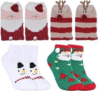 JPYH, Calcetines de Navidad, JPYH 4 Pares Calcetines de Invierno Calientes de Piso Lindos de Navidad para Mujer Vellón de Coral Abrigados con Exquisita Caja de Regalo y Bolsa de Regalo