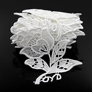 Floral Motifs Boho White Lace Applique Trim Sequins Flower Embroidery Applique Sewing Craft,2 Yards