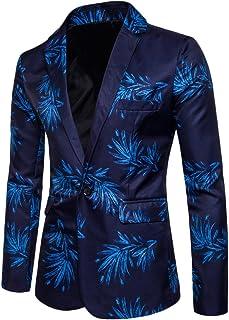 ZongSen Men's Long Sleeve Single Breasted Slim Suit Jacket Printing Formal Blazer