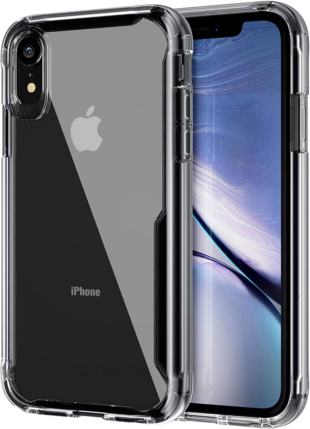 EFFENX iPhone XR Case Clear, iPhone XR Protective Case Shockproof Bumper Cover,Professional Camera Protection, Anti-Scratch Clear Cover (Black Clear)
