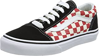 Vans Kids Old Skool (Checkerboard) Black/Red Skate Shoe 11 Kids US