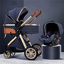 Buggies de bebé, con dosel de gran tamaño/plegable con una mano, sillas de lujo plegables y cochecitos, resorte a prueba de golpes y alto campo de visión