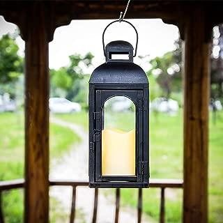 Ninganju Black Candle Lantern Decorative Metal and Glass Waterproof Lantern Vintage Style Lantern for Indoor, Outdoor Patio, Party Lights, Weddings (12'')