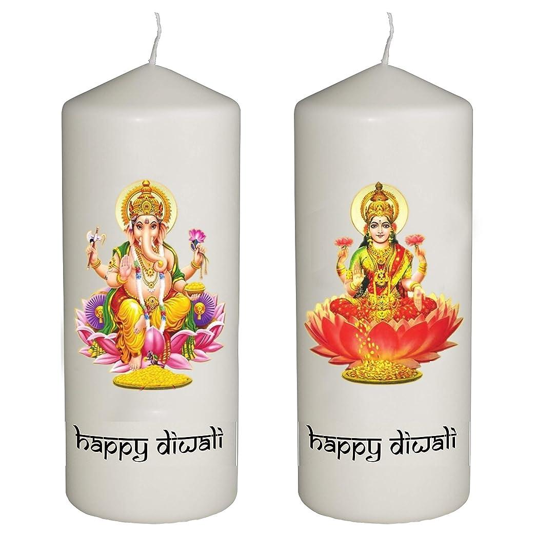 帽子Shark Happy Diwali Celebration 2キャンドルのセットDiwali?–?ラクシュミーとガネーシャ神?–?Printedフルカラーで6インチTall