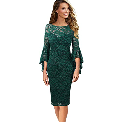 VfEmage Womens Elegant Bell Sleeve Wear to Work Party Cocktail Sheath Dress 7aeff2cf5