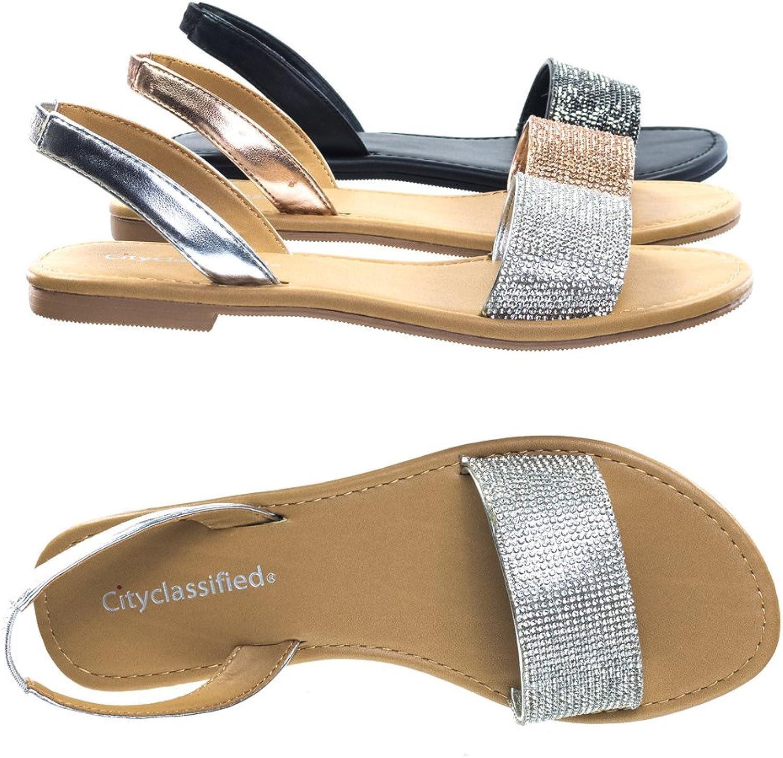 CITYCLASSIFIED Over The Toe Strap Crystal Embellished Slip On Sling Back Flat Sandal, Silver, 5.5