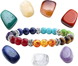 Jovivi Healing Crystal Kits - Irregular 7 Chakra Tumbles Stones,7 Chakras Gemstone Bracele Therapy Meditation Set