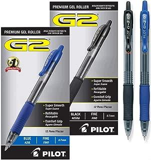 Pilot G2 Retractable Premium Gel Ink Roller Ball Pens, Fine Point (Black/Blue, 24-Combo Pack)