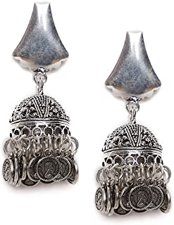 ZeroKaata/ Fashion Jewellery Classic Designer Tribal Jewellery Jhumkis with Hanging Silver Bells For Women /& Girls