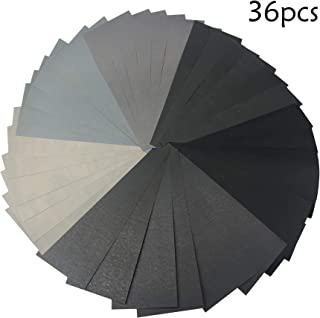 36 Pieces Multicolor Wet and Dry Sandpaper Assortment 1500 2000 2500 3000 5000 7000 High Grit Sandpaper Assorted Paper for Automotive Sanding Wood Furniture Finishing