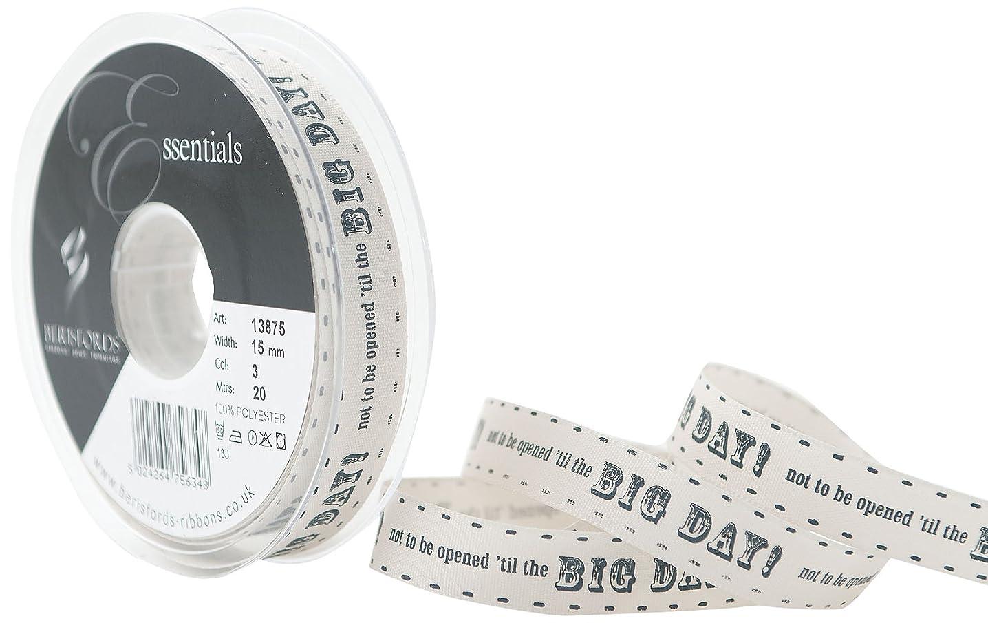 Berisfords 15 mm Big Day Ribbon, Pumice and Charcoal