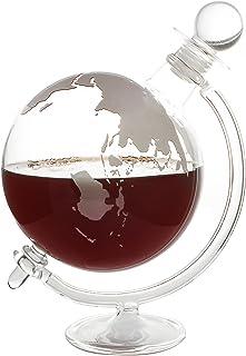 CKB Ltd Globe Decanter with Cradle Holder & Glass Cork Lid- Hand Blown - GLOBUS Dekanter Schädel Perfekt für Vodka, Obstbrand, Wein, Whiskey, Schnaps, Likö - Hält bis zu 1 Liter