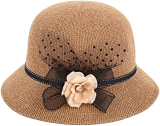 ZiWen Lu New Knit Grass Yarn Ladies Refreshing Breathable Folding Basin Cap (Color : Brown, Size : M56-58cm)