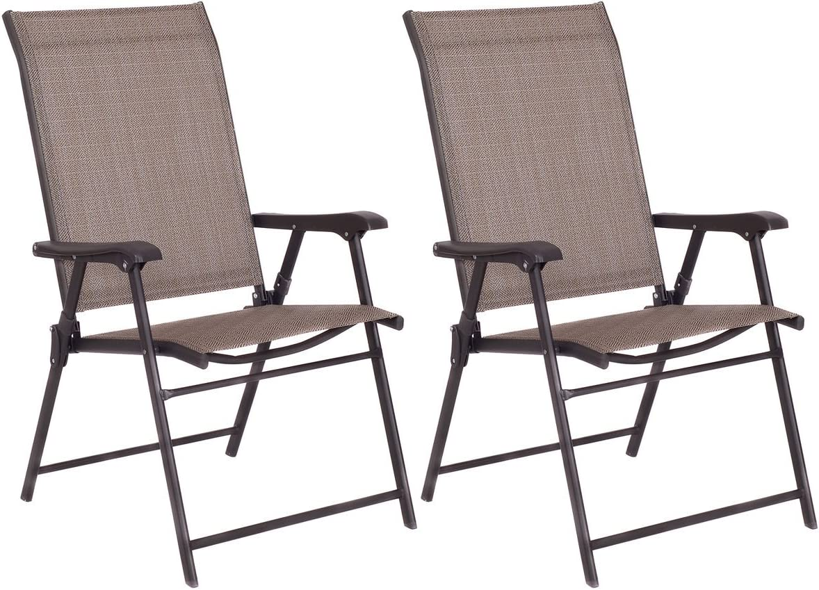 Best Direct Deals Set of 2 Free Shipping Cheap Bargain Gift Patio Sling Folding NEW before selling Furniture Chairs