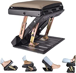 Adjustable Footrest with Removable Soft Foot Rest Pad Max-Load 120Lbs with Massaging Beads for Car,Under Desk, Home, Train...
