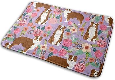 """Aussie Floral Australian Shepherd Design - Red Tricolored Dog_17257 Doormat Entrance Mat Floor Mat Rug Indoor/Outdoor/Front Door/Bathroom Mats Rubber Non Slip 23.6"""" X 15.8"""""""