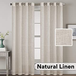 H.VERSAILTEX Elegant Natural Linen Blended Energy Efficient Light Filtering Curtains/Angora Nickel Grommet Curtains Window Treatments Panels/Drapes for Livingroom (Set of 2, 52