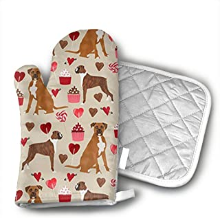 Gdhghfmhds Boxer Dog Valentines Love Cupcakes Oven Gloves/Gloves - Heat Resistant, Handling Hot Oven/Cooking Items Safe - Soft Insulated Deep Pockets, Non-Slip Handles