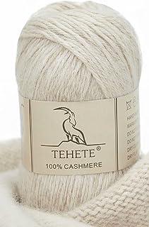 TEHETE 100% Fil en Cachemire Pour Tricoter, Fil à crochet, 50g, 4 Plis, Chaud et Doux pour Couverture, Chaussette Pull-Over