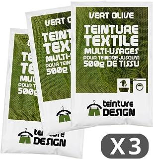 comprar comparacion Set de 3bolsas de tinte textil–Verde Oliva–Teintures universales para ropa y telas naturales