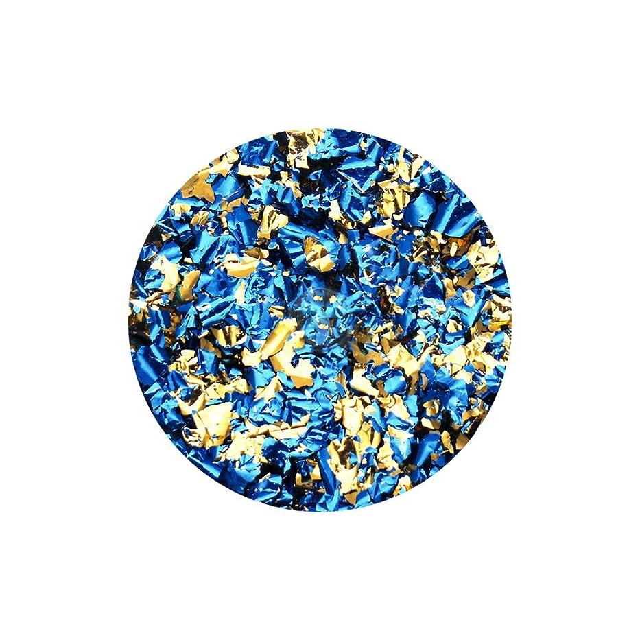 ハブパッケージ証言するネイルアート リバーシブルホイル ブルー×ゴールド セルフネイル レジン ネイルホイル リバーシブル 両面 ネイルナゲット