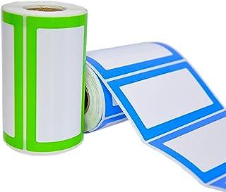 Namensaufkleber Etiketten Selbsteklebend - 2 Rollen 500 Sticker Insgesamt - 9 x 5 cm - Namensschilder Farbetiketten für Küche, Kinder-Kleidung, Schule, Kindergarten und Büro