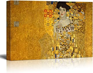 wall26 Canvas Wall Art - Adele Bloch-Bauer's Portrait by Gustav Klimt - Giclee Print Gallery Wrap Modern Home Decor Ready to Hang - 24x36 inches