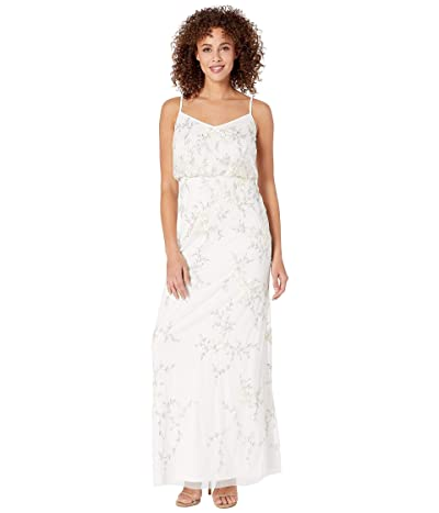 Adrianna Papell Beaded Embroidered Floral Evening Gown (Ivory) Women