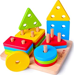Rolimate Developmental Toy for 1 2 3 4+ Years Old Boy Girl Wooden Educational Toy Shape Sorter Preschool Learning Montessori Toy Christmas Birthday Gift Fine Motor Sorting Stacking Toy to Baby Toddler