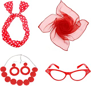Women's 50's Costume Accessories Set Girls Neck Scarf Bandana Headband Earrings Necklaces Cat Eye Glasses Costumes