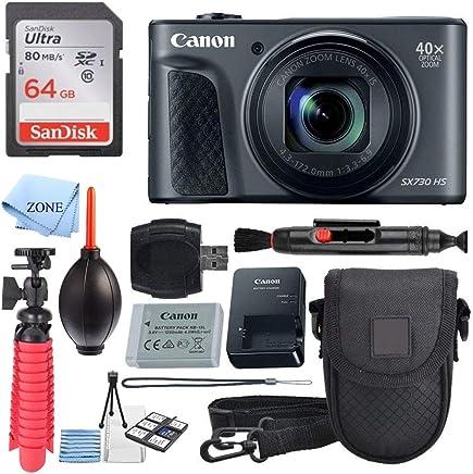 Canon PowerShot SX730 HS - Cámara digital (color negro) + tarjeta de memoria de 64 GB + funda para puntos y disparos + trípode flexible + lector de tarjetas USB + lápiz limpiador de lentes + kit de limpieza + paquete de accesorios
