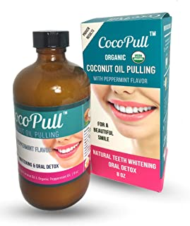 CocoPull - Organic Oil Pulling with Coconut Oil and Peppermint Oil for Healthy Teeth and Gums and Bad Breath Remedy. Natural Teeth Whitening (8 ounces)