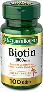 Nature's Bounty Biotin Supplement, Supports Healthy Hair, Skin, and Nails, 1000mcg, 100 Tablets (Packaging may vary)