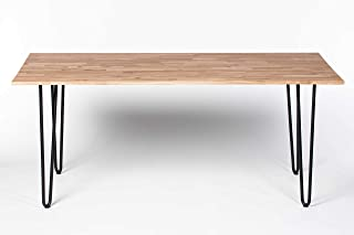 Wood Furniture Table de salle à manger en bois de chêne massif avec pieds en épingle à cheveux en métal, peut accueillir j...