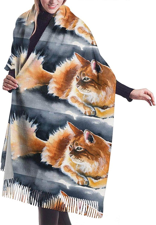 Womens Comfortable Cashmere Scarf,Cat Painting Shawl Scarf,Premium Large Pashmina,Warm Wrap Blanket Solid Shawl Elegant Wrap