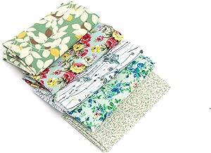 RayLineDo 5X Different Pattern Green 100% Cotton Poplin Fabric Fat Quarter Bundle 46 x 56cm (Appox 18