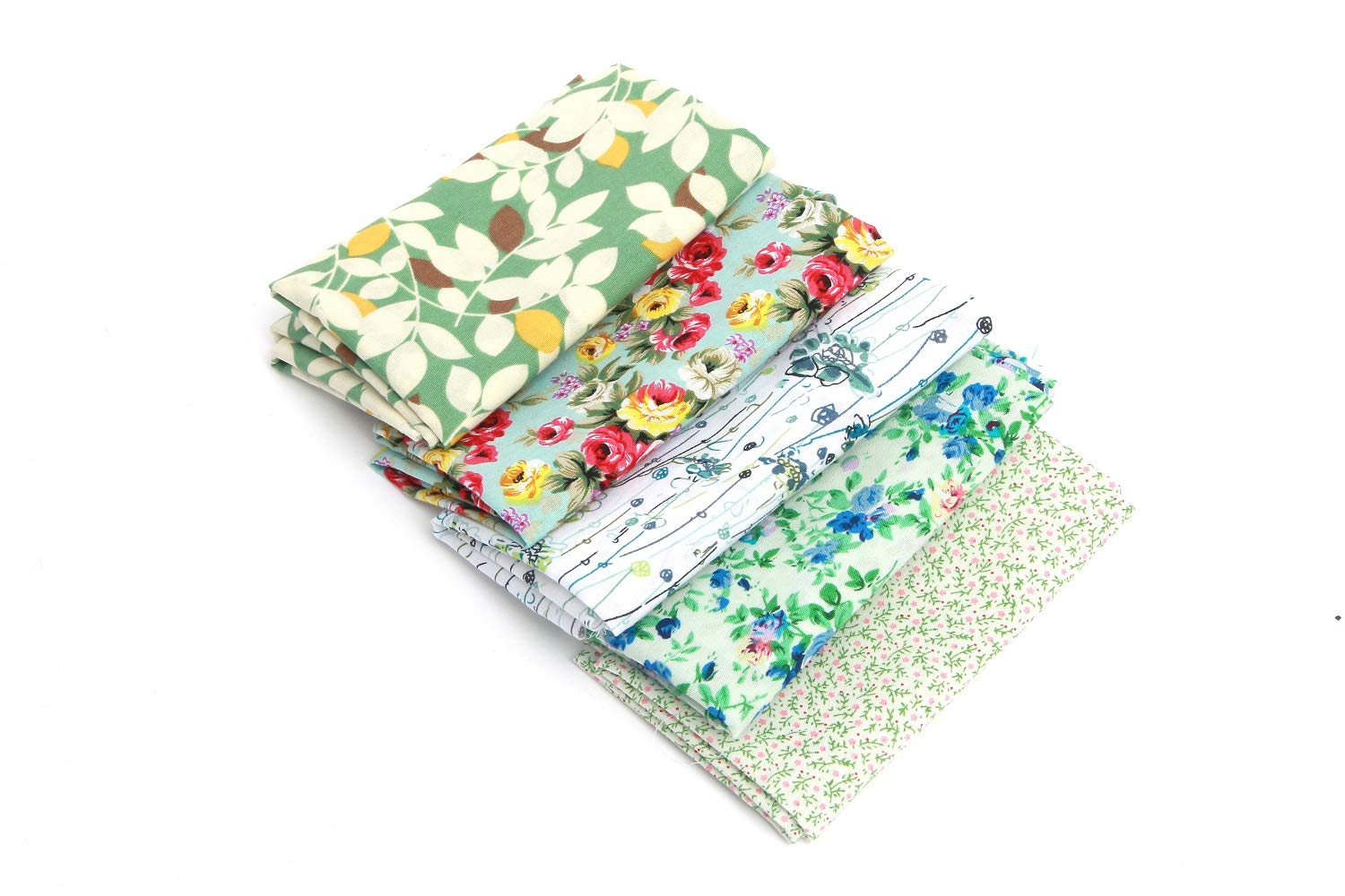 100X RayLineDo/® Bundle of 10cm X 10cm Different Pattern Stripe Dot Flowers Cotton Patchwork Fabric Bundle Squares Quilting Scrapbooking Sewing Artcraft Bag Handbag Making Project Fabric-Thin Fabric
