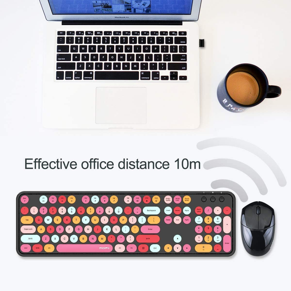 Wireless Keyboard and Mouse Combo 2.4GHz Retro Full Size with Number Pad /& Slim Wireless Mouse for Computer PC Laptop Notebook Mac Windows XP//7//8//10 Black /& Lipstick Colors Cute Wireless Keyboard