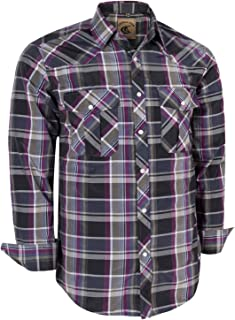 Coevals Club Men's Long Sleeve Casual Western Plaid Press Buttons Shirt