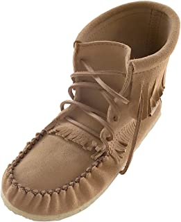 Women's Apache Suede Moccasin Shoes Lace up Ankle Boots