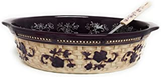 Temp-tations Basketweave 3.0 Qt Oval Baker w/Tab Handles and Serving Spoon (Floral Lace Eggplant)