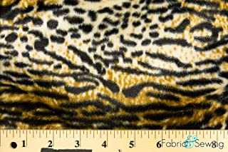 Taupe Wildcat Print Velboa Plush Faux Fake Fur Fabric Polyester 14 oz 58-60
